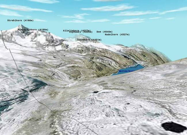 View from Mondelli Pass into Switzerland (rendered from Orthophoto and DOM by Flytastic)