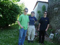 #2: Basti, Christoph and Michael at the confluence point (corner of the house)
