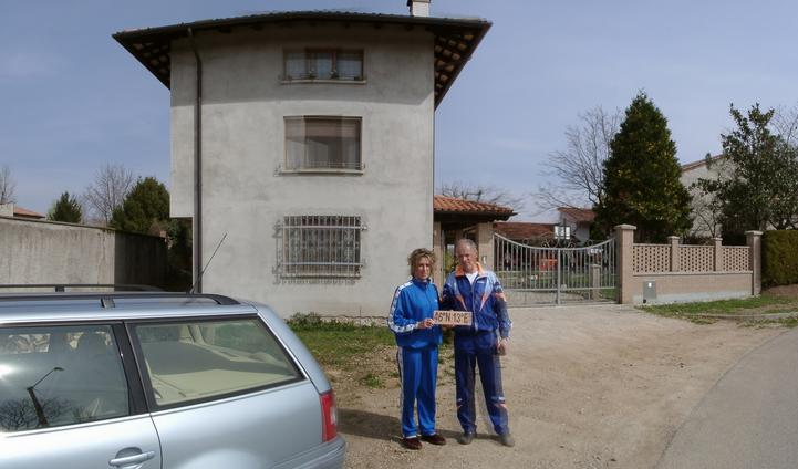 Mrs. & Mr. Fanutti in front of their house [via Aquileia 17, 33039 Sedegliano]
