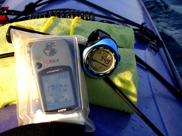 A shot of the GPS in its waterproof case, drifting on the wind over the confluence point.