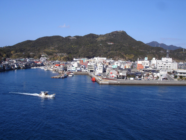 The fishing port town of Ushibuka in Amakusa, a typical small Japanese fishing port.