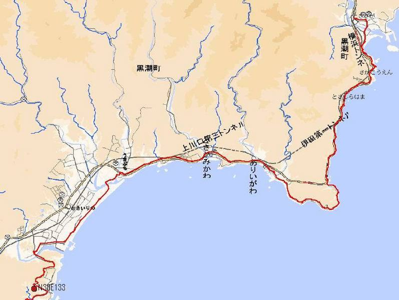 Run route from Tosasaga station to the point