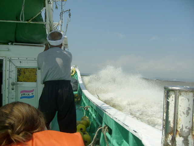 Ploughing through the waves on the way back