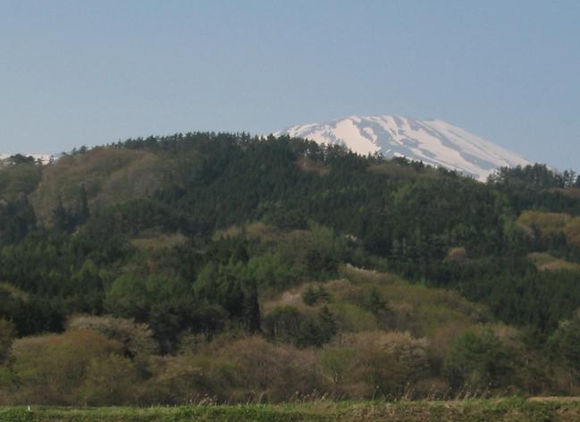 Chokai mountain viewed from the plain.