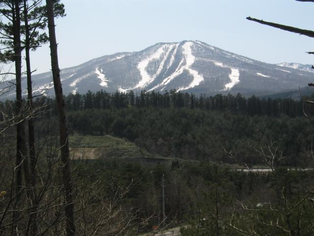 View of Appi ski area near confluence.  Covered in late spring snow.