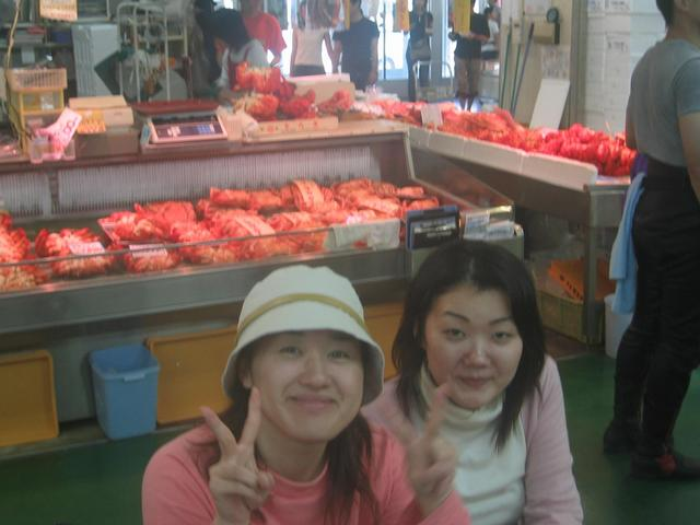 Saying 'bye' to Mari and Akiko at the Kushiro fish market.