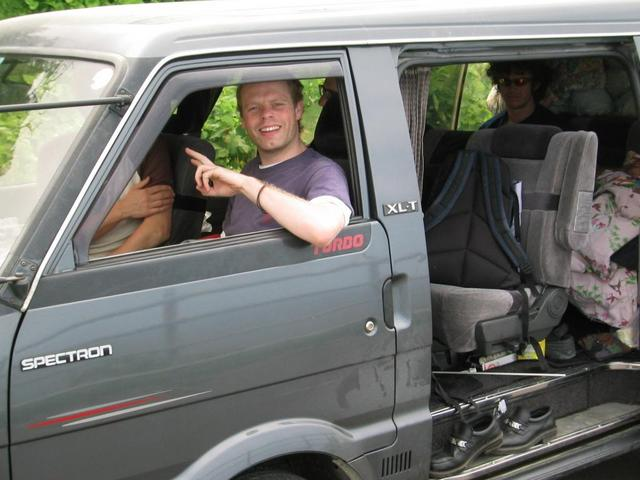 Our reconnaissance van with James in shotgun.