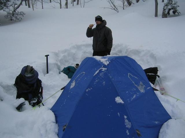 Mitch. Morning at our campsite in the deep new snow.