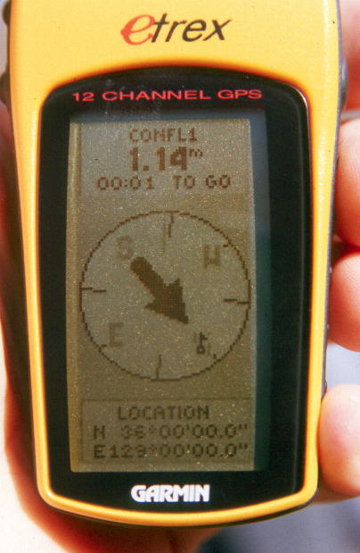 GPS display at the confluence point.