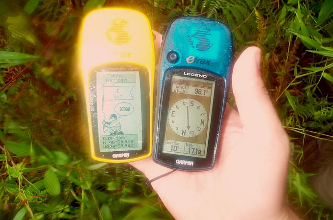 GPS readings: 98 m distance, elevation 10 m