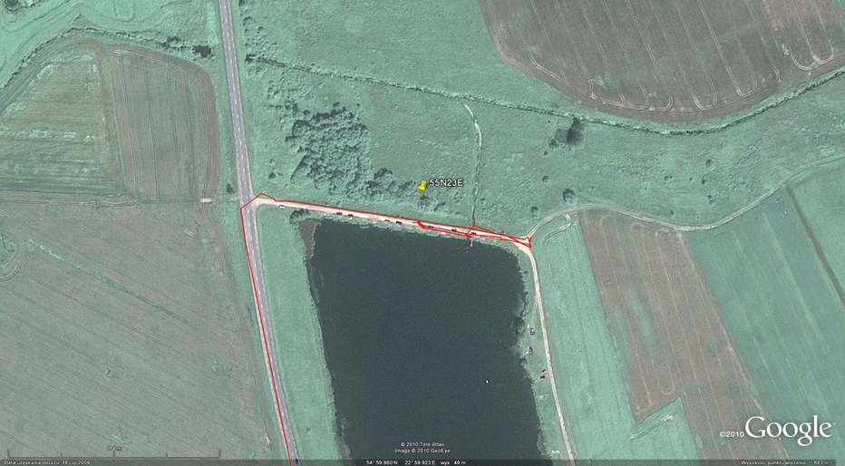 My track on the satellite image (© Google Earth 2010)