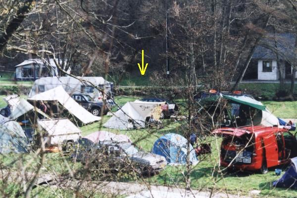 Camping site at Kautenbach along river Clerve, my tent under the arrow