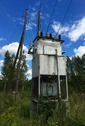 #8: An old, dangerous-looking Soviet-era electrical transformer, beside the road, 500 m from the point