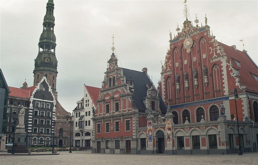 the old townhall of Riga early in the morning