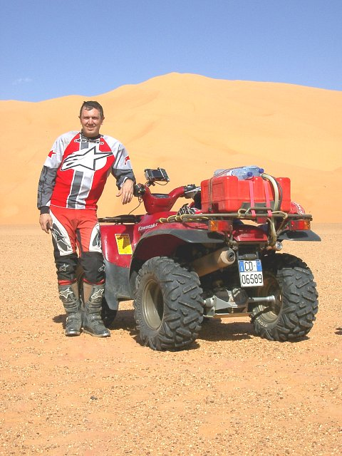 Andrea Faggian and his ATV Kawasaki 700 toward north