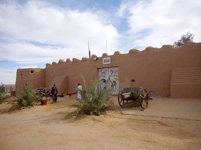 The old Italian fort at al-Qatrūn, now a campsite