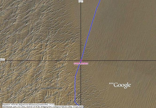 GPS track on Google Earth map