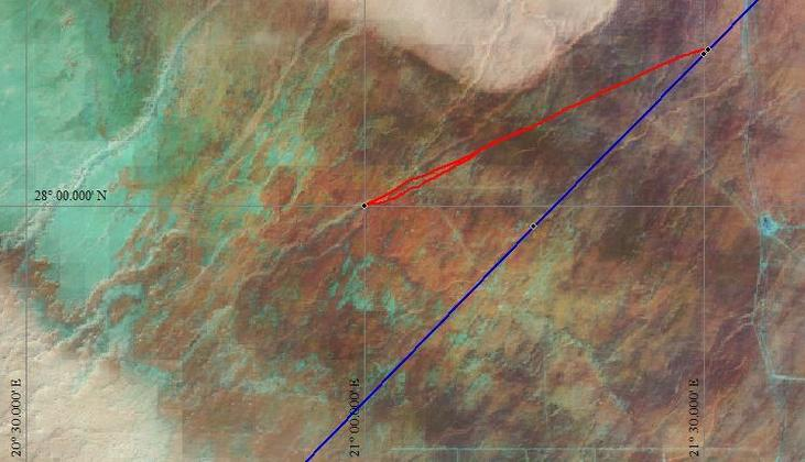 Eclipse centreline and GPS track to Confluence on Landsat image