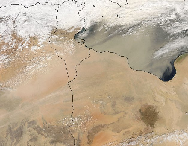 The sandstorm we were in seen from space