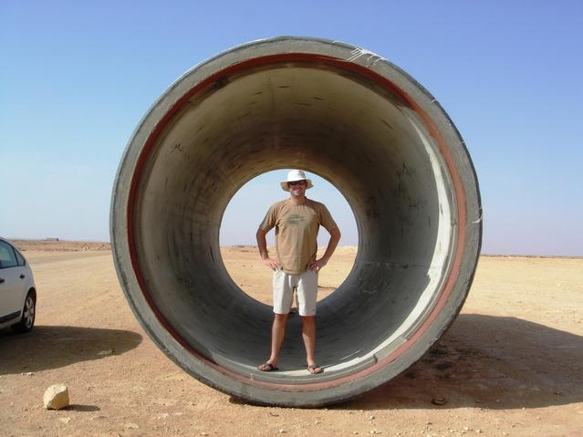 Justin inside section of Great Man Made River Pipe