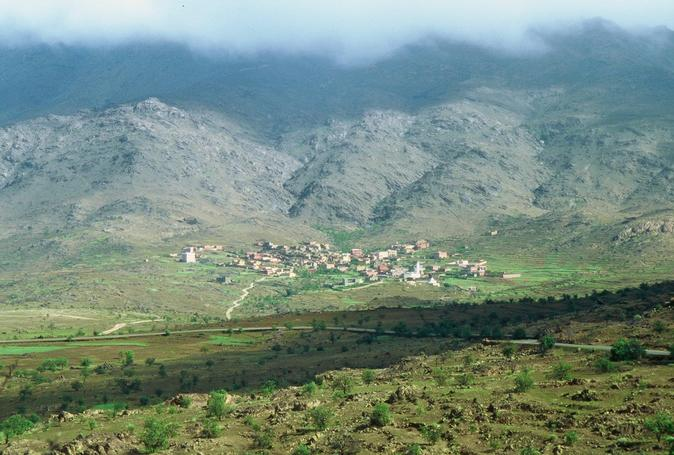 Mountain village on the flanks of Adrar Mqqurn