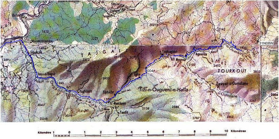 Topo map with our track