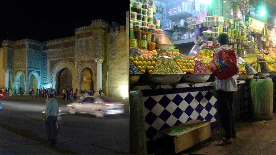 The old city and the a shop in the medina of Meknès