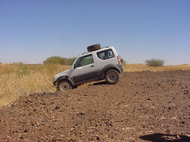 The Suzuki tackling some of the off-road terrain