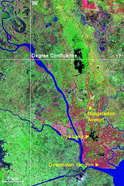 Satellite image of the degree confluence