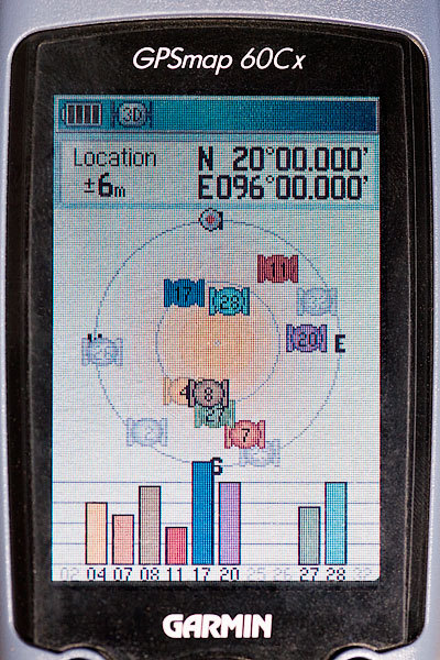 GPS receiver display at the degree confluence