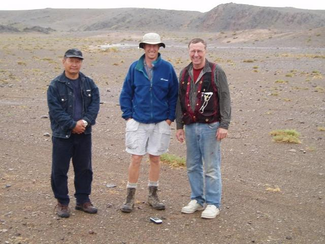 At the confluence point, Ganbold, Peter and Ron Sheldrake