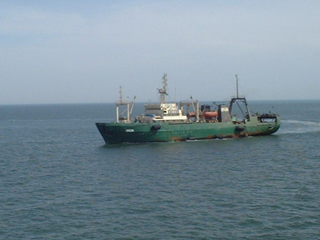 "The Russian trawler ""GREEN"", approaching our ship at the Confluence"