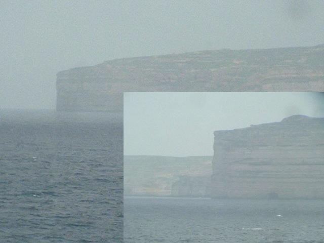 Gozo is almost entirely surrounded by perpendicular cliffs