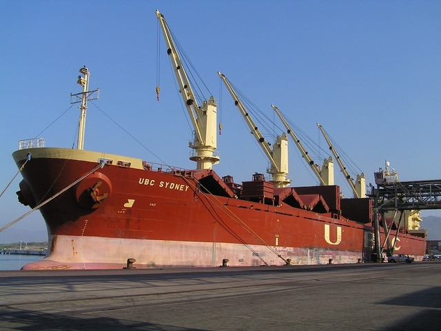 "The ""UBC SYDNEY"" loading iron ore at Manzanillo"