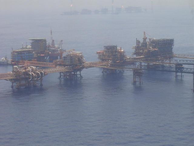 AN OIL PRODUCTION COMPLEX AT CANTARELL OFFSHORE FIELD