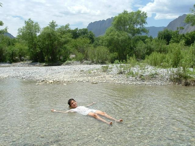 My son in the river