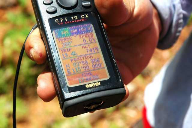 GPS showing E 115 degrees 00.00 minutes