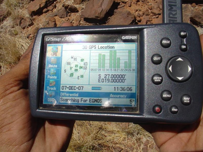 The Garmin 276c GPSr, at the destination