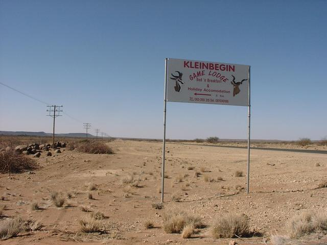 Sign to Kleinbegin Game Lodge