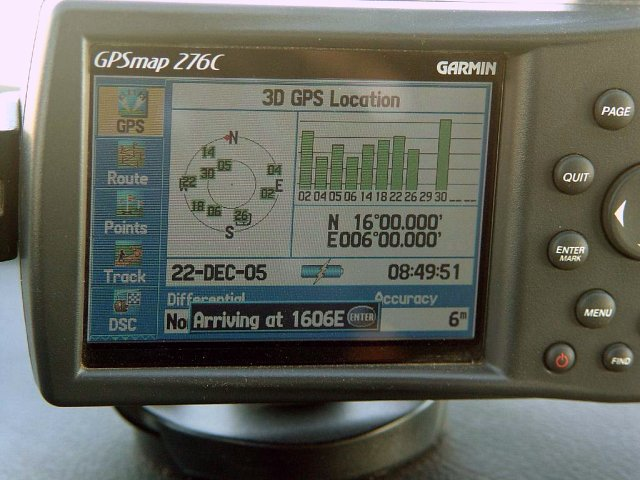 A shot of the dash-mounted GPS displaying the exact position