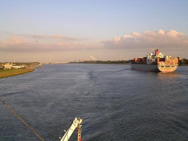 "A view of the ""Nieuwe Waterweg, linking Rotterdam with the sea"