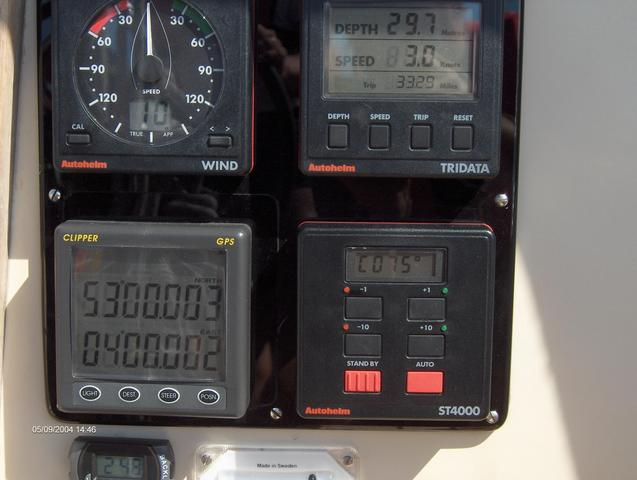 A picture of the GPS and the navigation instruments with nice numbers.