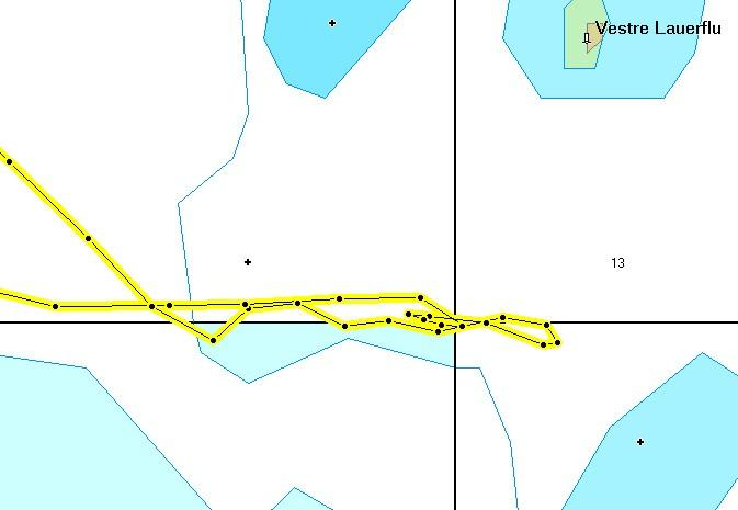 Map detail showing track over the point
