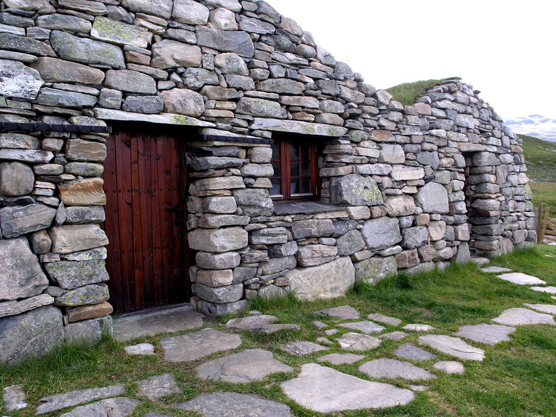 Amazing dry rock masonry work on a set of very old but beautifully restored cabins by lake Vivass