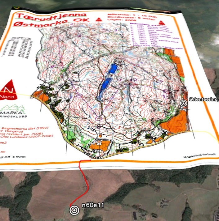 Google Earth image with Orienteering race overlay