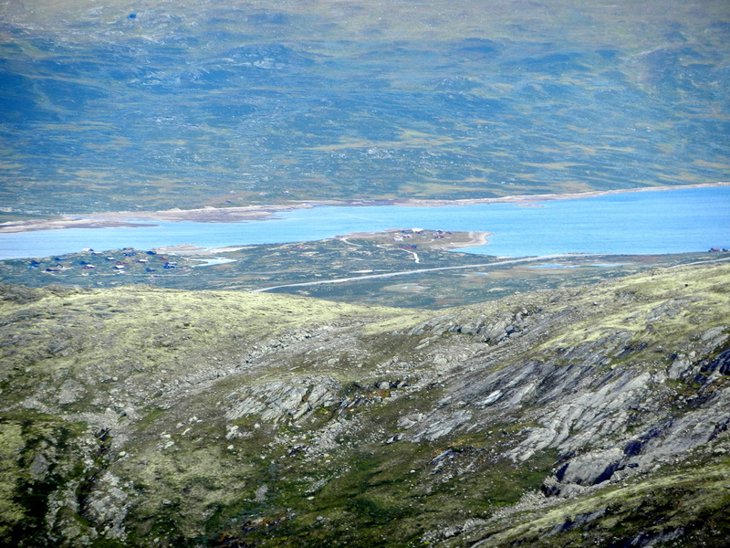 Looking NE towards lake Eldrevatnet with RV52 on the south shore