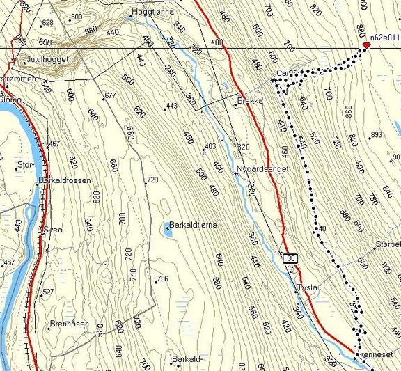 Map with track log. Note the starting switchbacks before we reached the logging road