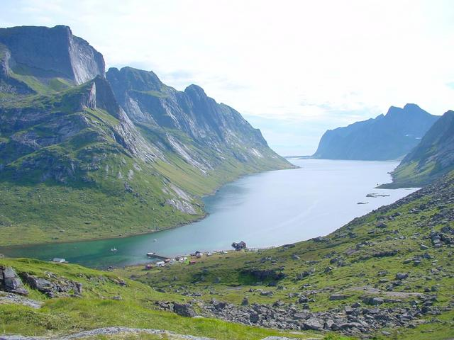 View to the south on Kjerkfjord and Reine in the background