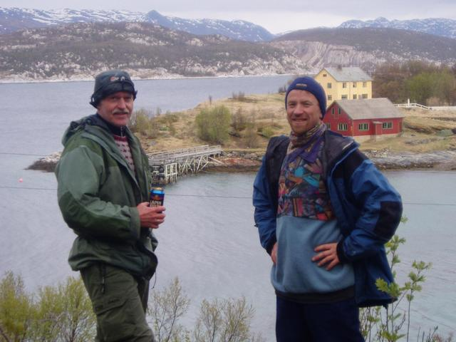 Steinar (left) and Ottar at Skorpa, the closed down postoffice and our tent to the right.