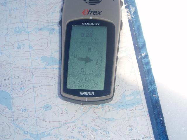 The GPS, placed on my map